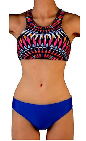 Womens Multicolor Blue Tankini Two Piece High Neck Bikini Swimsuit