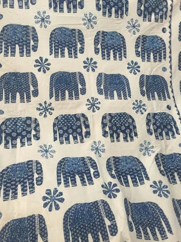 Blue Elephant Bohemian Kantha Quilt Throw 3 PC Boho Bed Set 2 Pillow Cases - Free Shipping