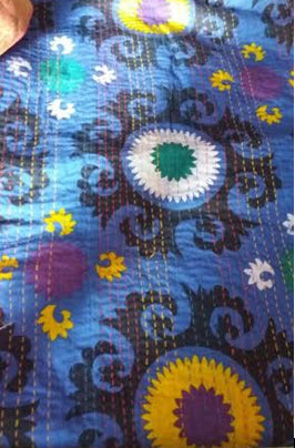 Blue Flower Power Bohemian Kantha Quilt 3 PC Boho Chic Bed Set 2 Pillow Cases  - Free Shipping
