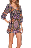Bohemian Women Tunic Boho Neck Tie Floral Print Ethnic Style Shift Dress - 4 Styles - Free Shipping