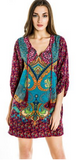 Bohemian Women Tunic Boho Neck Tie Floral Print Ethnic Style Shift Dress - 3 Styles - Free Shipping