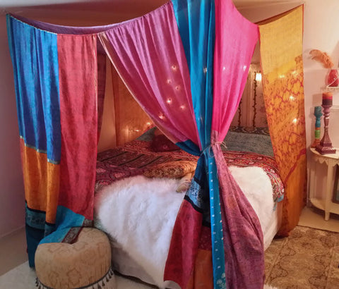 Handmade Boho Bed Canopy Hippie Bedroom Decor Bohemian Chic - Free Shipping