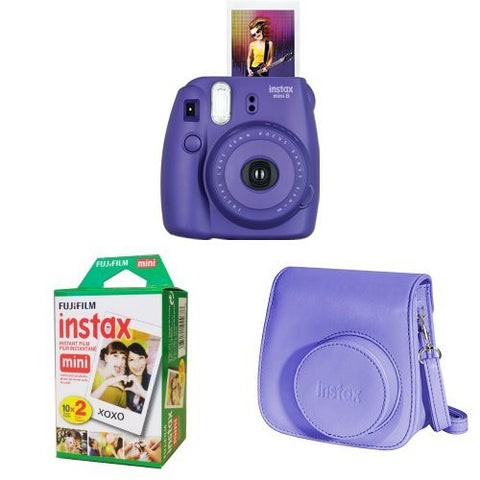 Fujifilm Instax Mini 8 Camera, Twin Pack Film, Camera Case Black Friday Cyber Monday - Free Shipping