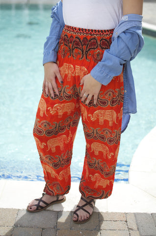 Orange Women's Paisley Elephant Print Smocked Waist Boho Harem Pants