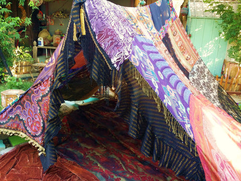 Dark Glam Handmade Boho Tent Hippie Glamping Canopy Party Decor - Free Shipping