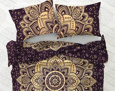 Bohemian Dark Flower Duvet Cover 3 Pc Set Boho Tapestry and 2 Pillow Cases - Free Shipping