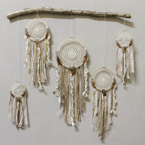 Bohemian Dream catcher installation *dream catchers* / dreamcatcher wall hanging / doily lace custom color / *minimal assembly