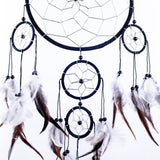 "Dream Catcher ~ Handmade Traditional Black, White & Silver 8"" Diameter & 22"" Long!"