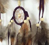 Brown Handmade Beaded Feather Dream Catcher Circular Net - Free Shipping