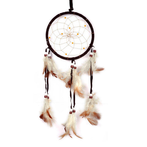 Coffee colored Handmade Dream Catcher with Feathers Hanging