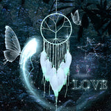 Feather Hanging Decor, Exquisite Manual Dream Catcher Luminous Feather Hanging Ornament for Wall and Car