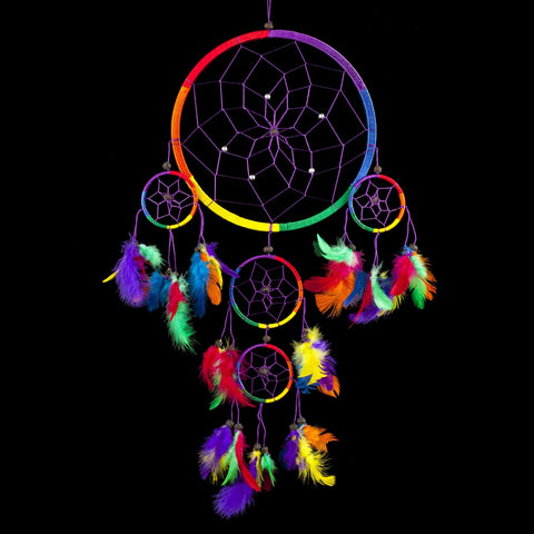 Dream Catcher ~ Traditional Rainbow Multi Colour with Feathers