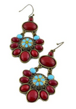 Women's Ruby Flower Bohemian Dangle Jewelry Earrings -- Free Shipping