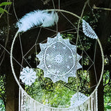 "39"" Floral Feather Bohemian Dream Catcher Wall Hanging Boho Wedding Decor"