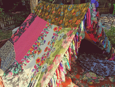 Flowers Galore Meditation Scarves Handmade Boho Tent Hippie Canopy Decor - Free Shipping