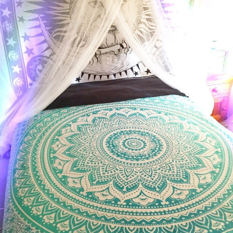 Soft Ombre Green Bohemian Mandala Tapestry Wall Hanging Boho Decor Dorm - Free Shipping
