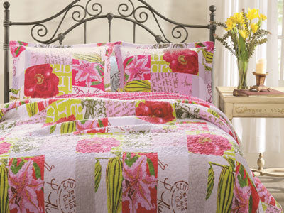 Love Letters Floral Bedding Quilt Bed Set Twin/Full/Queen Size 3 Piece Set - Free Shipping