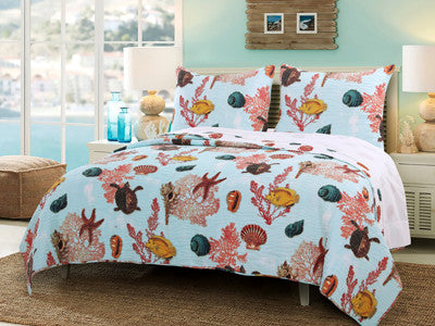 Big Island Tropical Bedding Botanical Quilt Bed Set Twin/Full/Queen/King Size 3 Piece Set