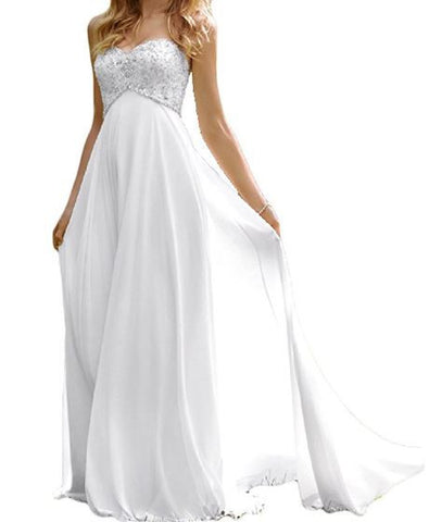 2017 White or Ivory Women's Sweetheart Beach Wedding Dress Bead Bridal Gown - Free Shipping