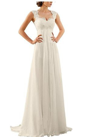 Women's Sleeveless Lace Chiffon Wedding Dress Bridal Gown - Free Shipping