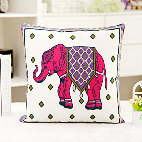 Pink Elephant Cotton Throw Pillow Case Cushion Cover Sofa Home Bed Decor - Free Shipping