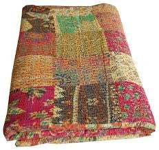 Bohemian Pink Patchwork Kantha Quilt Throw 3 PC Boho Bed Set 2 Pillow Cases - Free Shipping