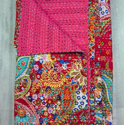 Multicolor Bohemian Pink Kantha Quilt 3 PC Boho Bed Set 2 Pillow Cases - Free Shipping