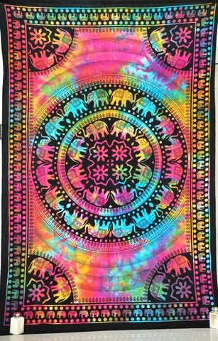 Tie Dye Psychedelic Mandala Bohemian Tapestry Boho Wall Hanging Decor - Free Shipping