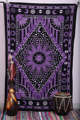Twin Size Purple Bohemian Burning Sun Psychedelic Celestrial Tapestry -- Free Shipping