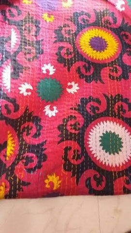 Red Flower Power Bohemian Kantha Quilt Throw 3 PC Boho Bed Set 2 Pillow Cases - Free Shipping