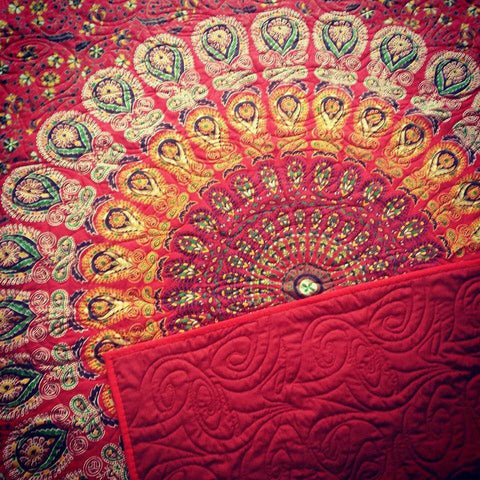 Sunburst Red Mandala Bohemian Kantha Quilt 3 PC Boho Bed Set 2 Pillow Cases - Free Shipping