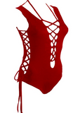 Red Women's Bathing Suit One Piece Front Side Lace Up Monokini Swimsuit