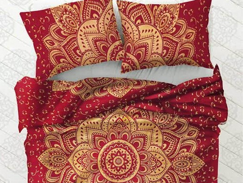 Boho Wine Flower Duvet Cover 3 Pc Set Bohemian Tapestry and 2 Pillow Cases - Free Shipping