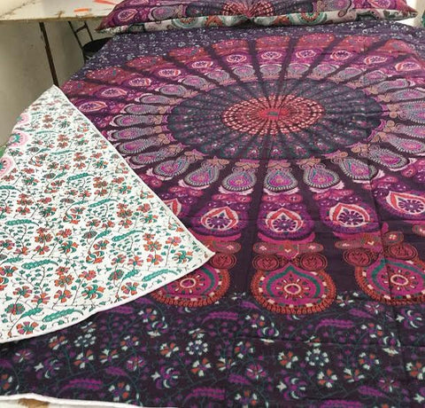Mandala Reversible Kantha Quilt - Available in Throw / Queen / King - Free Shipping