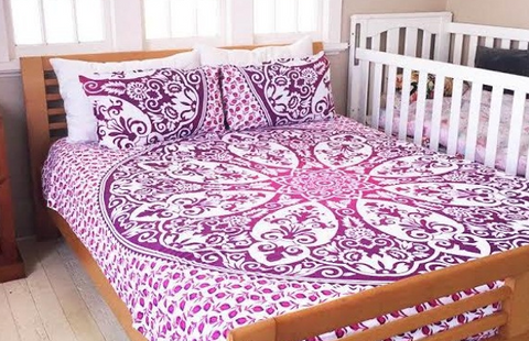 Royal Lavender Bohemian 3PC Mandala Boho Bedding & 2 Pillow Cases - Free Shipping