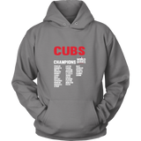 2016 World Series Champions Chicago Cubs MLB Cubs World Series Champions Team List Hoodie - Free Shipping