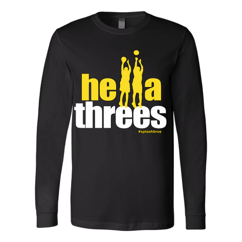 Golden State Warriors Hella Threes Splash Bros - Unisex Canvas Long Sleeve Shirt - Free Shipping