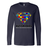 Autism Super Dad Mens Canvas Long Sleeve shirt for Autism Awareness - Free Shipping