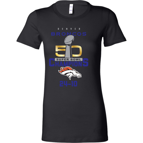 Denver Broncos SuperBowl 50 Championship Collection v6 Front & Back - Bella Womens Shirt - Free Shipping
