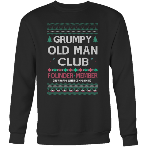 Grumpy Old Man Club Unisex Ugly Christmas Sweater - Free Shipping