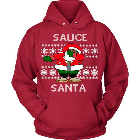 Black Sauce Santa Ugly Christmas Sweater - Unisex Hoodie