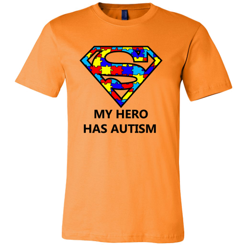 My Hero Has Autism -Autism Awareness Canvas Mens Shirt - Free Shipping