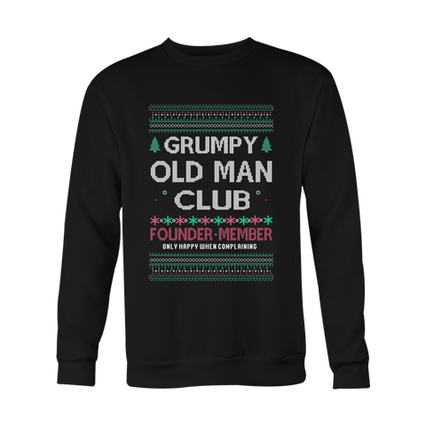 Grumpy Old Man Club Unisex Holiday Ugly Christmas Sweater - Free Shipping