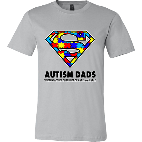 Autism Super Dad Mens Canvas Mens Shirt for Autism Awareness - Free Shipping