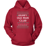 Grumpy Old Man Club Unisex Holiday Ugly Christmas Sweater Hoodie - Free Shipping