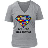 My Hero Has Autism -Autism Awareness District Womens V-Neck - Free Shipping