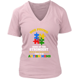 Autism Strong Moms Autism Awareness District Womens V-Neck - Free Shipping