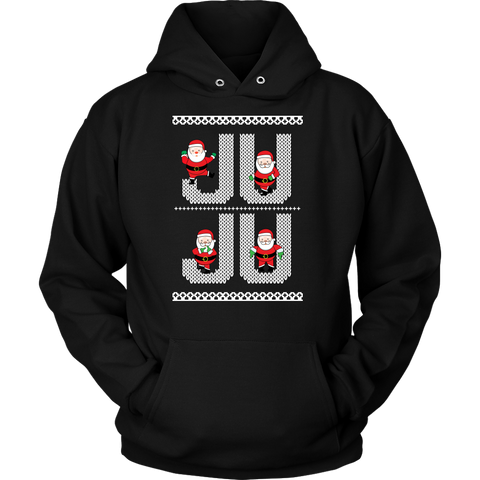 Ju Ju On That Beat White Santa Ugly Christmas Sweater Design- Unisex Hoodie