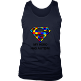 My Hero Has Autism -Autism Awareness District Mens Tank - Free Shipping