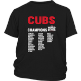 2016 World Series Champions Chicago Cubs MLB Cubs World Series Champions Team List Youth Shirt - Free Shipping